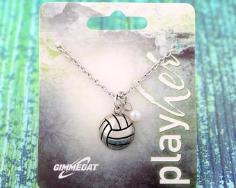 Customizable Volleyball Silver Necklace with Pearl - Personalize with Jersey Number, Heart Charm, or Letter Charm! Great Volleyball Gift!
