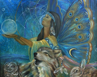 Native American, Wolf, Rabbit, Owl Art Print
