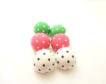 Fabric Button Earrings - 3 Pairs