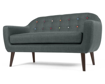 Tommy Sofa,sofa, midcentury modern sofa, couch,3 seater, mid century modern sofa in a grey, dark grey, Turqouise, red, yellow