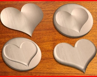 Four Heart Design patterns for your CNC Router in STL format