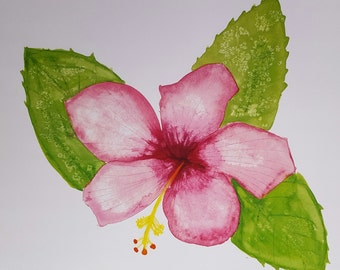 """Hibiscus Flower- Water color PRINT 11"""" x 17"""""""