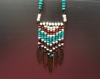 Native American, Western, beaded feather dangle necklace