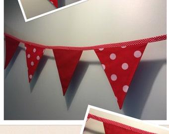 Dotty in Red Bunting - Handmade - 3m