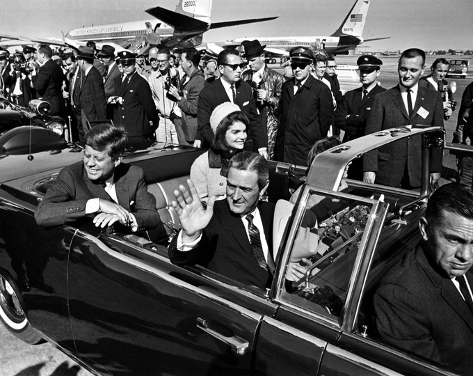 President John F Kennedy & First Lady Jacqueline Leave Love Field in Open-Top Limousine November 22 1963 - 5X7, 8X10 or 11X14 Photo (BB-173)
