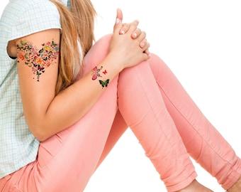Supperb® Temporary Tattoos - Butterflies Love Heart Tattoo