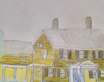 "House in the Woods - Original Colored Pencil Sketch, 9"" x 12"""