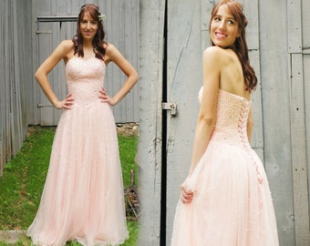 Pink Sweetheart Neckline Strapless Wedding dress, Prom Dress, Lace up Dresses, Tulle Dresses