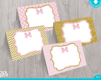 Pink and Gold Food Tent Cards Print Yourself Instant Download, Printable Food Tent Labels, Baby Shower Party Decoration, Party Printables