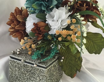 Teal & Brown bridal/bridesmaids bouquet!