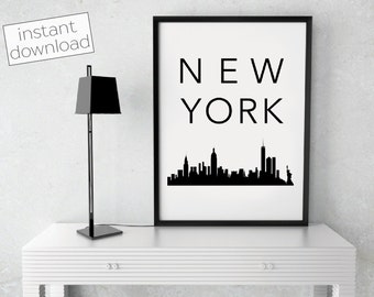 New York City Print, New York Skyline, New York Poster, Printable Art, Instant Download, Wall Art, Cityscape Art, Typography Poster