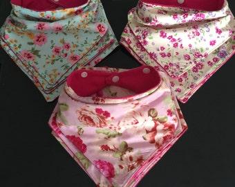 Handmade bandana bibs with waterproof lining for teething babies