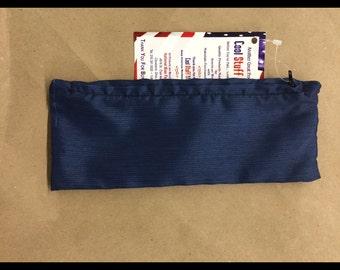 Dark Blue Zipper Pouch, 10 X 3.5 Inches