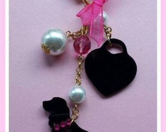Cocker-Dog bag charms Black heart