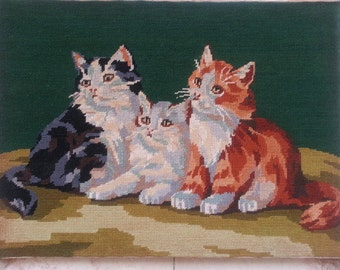 Embroidery Picture Underframe Hand Made Cat's Family 3 Kittens France
