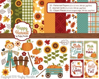 Fall Digital Scrapbook Set - Happy Harvest, Printable Scrapbook Paper, Fall Clipart, Sunflower, Scarecrow, wagon, Autumn Pattern, Commercial