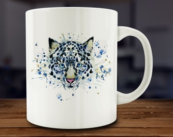 Snow Leopard Mug, Watercolor Snow Leopard Coffee Mug, Wild Cat Mug,  Kitchen Art (A170)