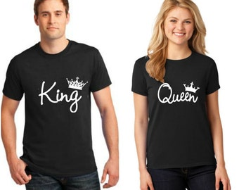 Couple Matching T Shirts King And Queen  Husband Wife Boyfriend GirlFriend Tees Matching Tees