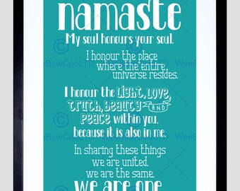 Quote Typograph Definition Namaste Art Poster Print FEHP1879