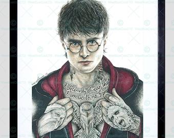 Harry Potter Print - Daniel Radcliffe Inked Ikon Framed Art Print By W.Maguire F12X10598