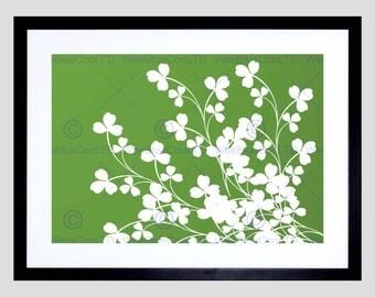 Photo Clover Foliage Green White Lucky Fine Art Print Poster FEBMP035B