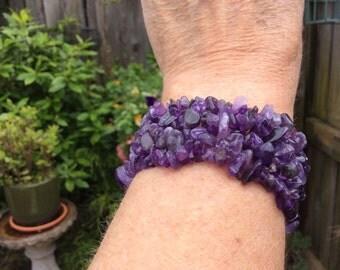 Chunky Chip amethyst bracelet - elasticated