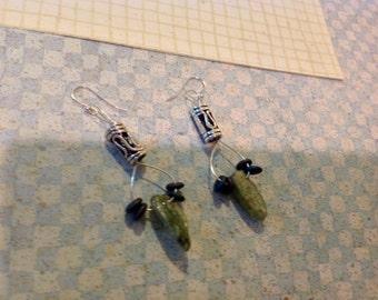 Green Kyanite and Sterling Silver Earrings.