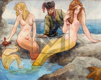 Mermaids Play with a Pirate - ORIGINAL Painting