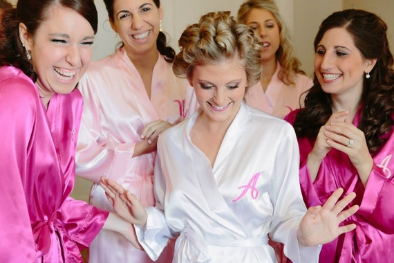 Bridesmaid Robes Custom Embroidered Monogram Robe Wedding