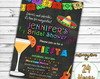 Fiesta Bridal Shower Invitation, Mexican Bridal Shower Invitation, Fiesta Bridal Shower,  Mexican Invitation, Tequila Invitation, Printable