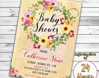 Floral Baby Shower Invitation, Summer Baby Shower Invitation, Girl Baby Shower Invitation, Rustic Baby Shower, Watercolor Flower, Printable