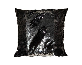 Black Damask Reversible Sequin Throw Pillow Cover