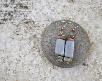 Blue, Green and Pink Stone Earrings