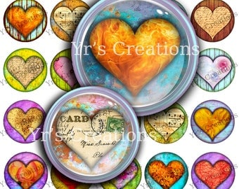 BE MINE HEARTS 1.5 inch circle - heart images for magnets, pendants, scrapbooking, mixed media and art - Printable Digital Collage Sheet