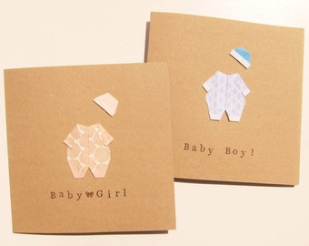 Baby Boy, Baby Girl Origami Cards