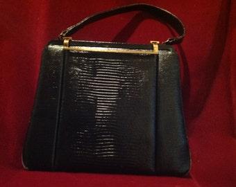 1940s / 50s Rare Ladies Black Leather Handbag / Vintage leather Purse