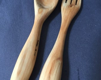 Hand Carved Wooden Fork and Spoon Set