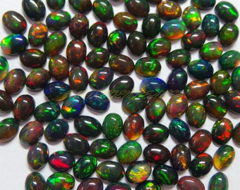 Natural Welo Ethiopian Black Opal Oval Cabs, Ethiopian Opal Smooth Oval Cabochons, 8x6 MM Size 10 Pieces, Loose Gemstone Beads Best Color 71