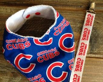 Cubs bandana bib, headbands, and pacifier clip