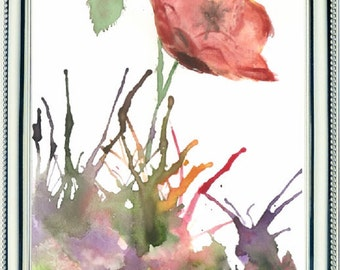 Watercolor, poppies, red flowers