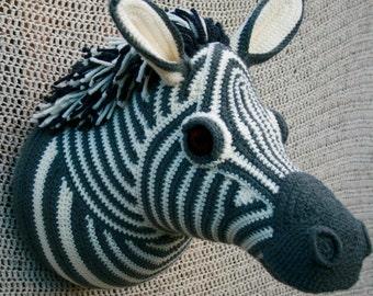Hand Knitted Animal, Fauxdermy Crochet Zebra Trophy Head