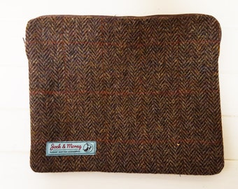 Elegant, Stylish Harris Tweed Carry Pouch 27cms x 22cms Brown Herringbone with Black Satin Lining Ideal for all the Handy Travel Things