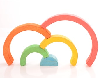 rainbow, montessori, waldorf toy, learning toy, wooden toy rainbow, wooden stacking toy, color sorting, wooden sorting, rainbow stacker,