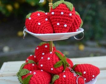 Handmade Crochet Strawberry Keychain