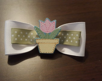 SALE Girls, Flower Pot, Flowers, Everyday, Pastel, Toddler, Spring, Summer Hairbow