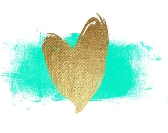 Gold heart with watercolor splash