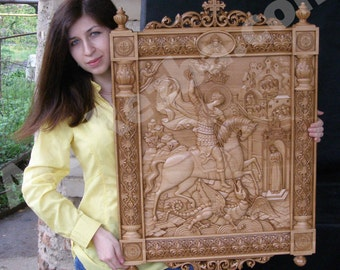 Kiot Saint George and the Dragon 3D Art Orthodox Wood Carved Icon very large