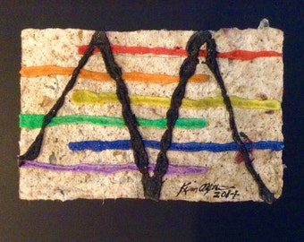 Abstract Sand Painting on Handmade Paper