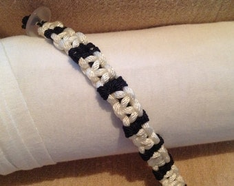 Black/White Scorpian Style Macrame Bracelet w/button closure
