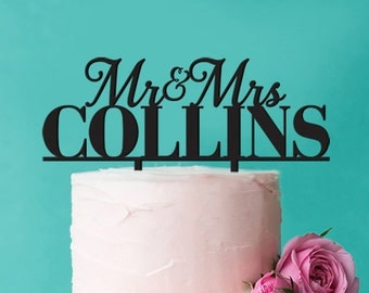 Personalized Mr. and Mrs. Calligraphy Cake Topper (FJM-MRCKT56-LXJM)